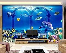 3D Tapete Unterwasser Blauer Korallendelphin