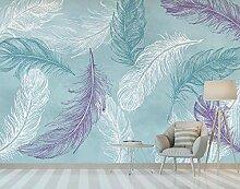 3D Tapete Vlies Aquarell Blau Lila Feder