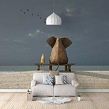 3D Tapete Vlies Elefantenkatze 3D Wandbilder Für