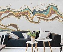 3D Tapete Vlies Goldene Relief Abstrakte Linien