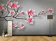 3D Tapete Vlies Rosa Magnolienblumenweinlese Der