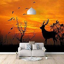 3D Tapete Vlies Sonnenuntergang Elch 3D Wandbilder