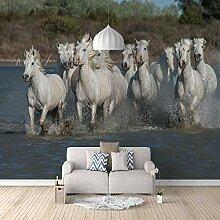 3D Tapete Vlies Weiße Pferdegruppe 3D Wandbilder