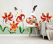 3D Tapete Wandbild Aquarell Rote Lilie