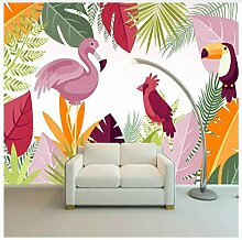 3D Tapete Wandbild Cartoon Tropical Flamingo