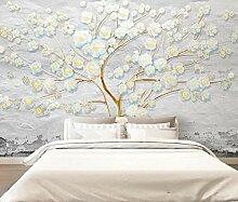 3D Tapete Wandbild Geprägte Blumen Frisch Und