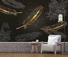 3D Tapete Wandbild Goldene Feder Marmor Textur