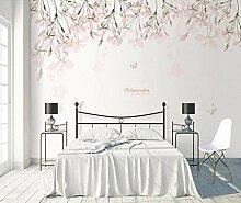 3D Tapete Wandbild Handgemalte Kirschblüte Rosa
