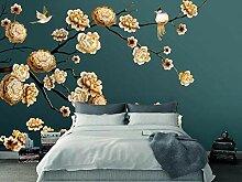 3D Tapete Wandbild Handgemalter Brauner Blumen-