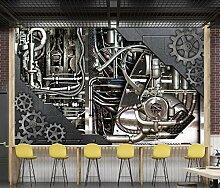 3D Tapete Wandbild Metallgetriebemaschinenstange