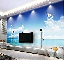 3D-Tapete/Wandbild mit blauem Himmel, Strandmotiv,