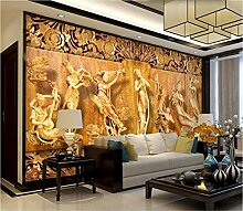 3D-Tapete/Wandbild mit Holzschnitzerei, 7 Feen,