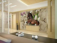 3D-Tapete/Wandbild mit Pferdemotiv und Steinen,