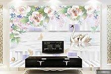 3D Tapete Wandbild Reliefblumenschwanreflexion