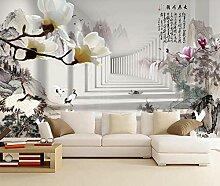 3D Tapete Weiße Blume, Tuschemalerei, Chinesische