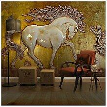 3D Tapeten Wandbild 3D Relief Pferd Tapete Für