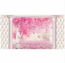 3D Tapeten Wandbild Romantische Sakura Brick Wall