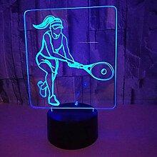 3D Tennis Lampe USB Power 7 Farben Amazing Optical