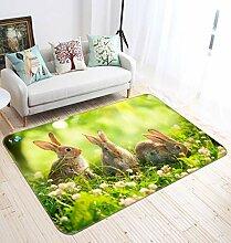3D Three Little Rabbits 06 Rutschfest Teppich
