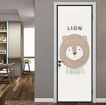 3D Tier Lion Tür Aufkleber Für Kind Schlafzimmer