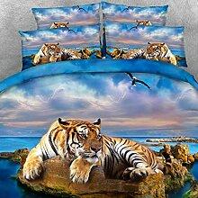 3D-Tier-Tiger-Bettwäsche-Set mit 1 Set Bettbezug