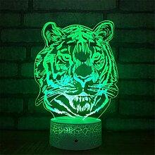 3D Tiger Optische Illusions Lampe 7 Farben