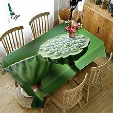 3D Tischdecke Grün Lotus Pflanze Muster