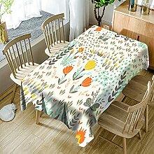 3D Tischdecke Rechteck,Pflanze Farbe Blumenfeld