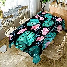 3D Tischdecke Rechteck,Pflanze Rosa Blume Grüne