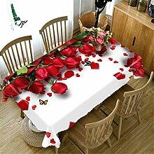 3D Tischdecke Red Rose Blume Pflanze Muster