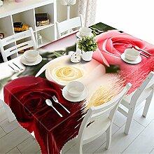 3D-Tischdecken Abdeckung Rot Grosse Rosen Muster