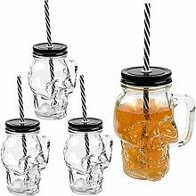 3D Totenkopf Glas Trinkglas mit Deckel und
