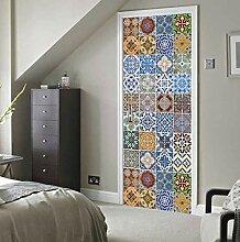 3D Tür Aufkleber Farbe Fliese Europäischen Stil