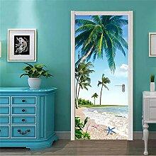 3D Tür Aufkleber Kokosnussbaum Pvc Wasserdicht