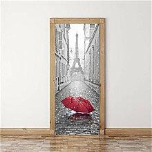 3D Tür Aufkleber Regenschirm Im Regen 3D Tür