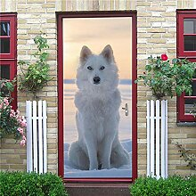 3D Tür Aufkleber Weißer Wolf Wohnkultur