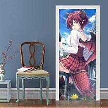 3D Tür Kunst Aufkleber Wandbild Anime Monster