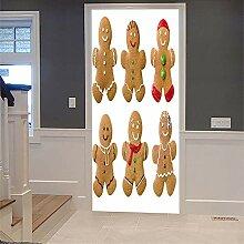3D Türaufkleber Biscuits Wasserdichte Tür