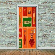 3D Türaufkleber Cactus Wasserdichte Tür