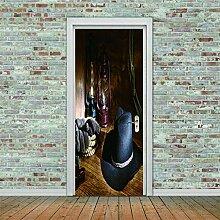 3D Türaufkleber Chapeau Wasserdichte Tür