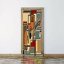 3D Türaufkleber Guitare Wasserdichte Tür