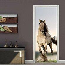 3D Türaufkleber Pferd Türtapete Wandbild