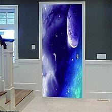 3D Türaufkleber Planète Wasserdichte Tür