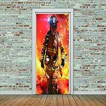 3D Türaufkleber Pompiers Wasserdichte Tür