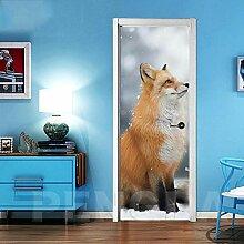 3D Türaufkleber Tierhund Türtapete Wandbild