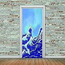 3D Türaufkleber Vagues Wasserdichte Tür
