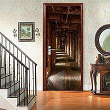 3D Türaufkleber Wandbild Korridor Landschaft Tür