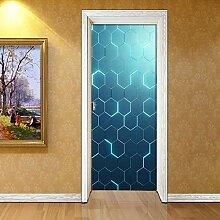 3D Türaufkleber Wandbild Nähen des blauen