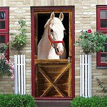 3D Türaufkleber Wandbild Pferd Tür Aufkleber