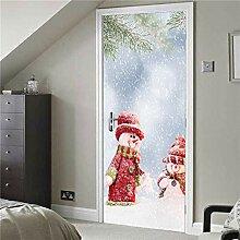 3D Türaufkleber Wandbild Weihnachten Schneemann